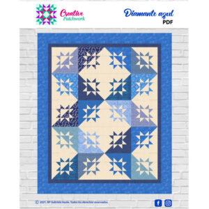 Patrón patchwork colcha diamante azul